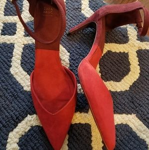 Zara pointy toe red burgundy ankle strap colorbloc